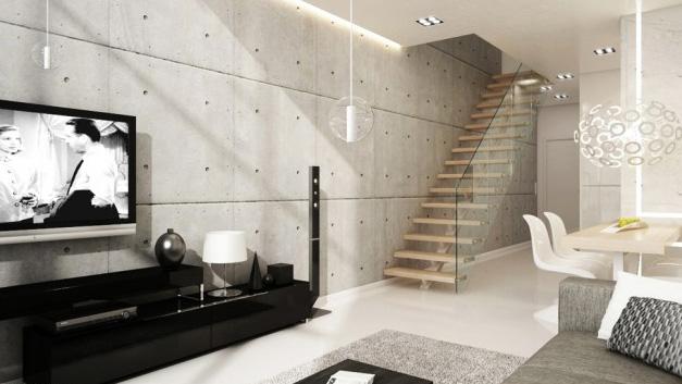 parede-concreto-decoracao-sala