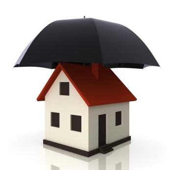 casa em miniatura com um guarda-chuva preto aberto em cima