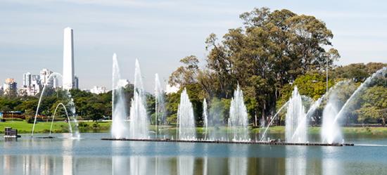 Foto do lago do Parque do Ibirapuera e suas cascatas, com árvores do parque e prédios ao fundo.
